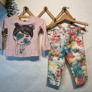Zara Set of Floral Pants and Top